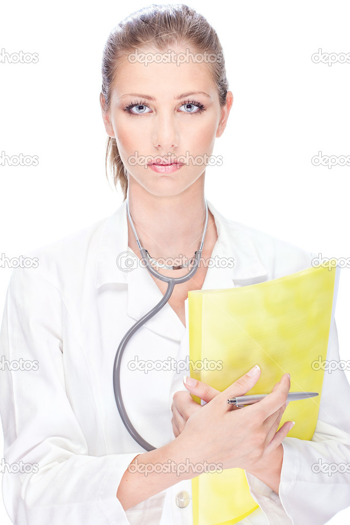 Portrait of a young female doctor with papers and stethoscope — Stock Photo #11861621