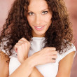 Woman with curls hair - Foto Stock