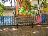 Bench in Lisbon street — Foto de Stock