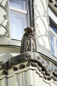Owl statue on the building in Vaci street, Budapest — Stock Photo