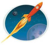 Spaceship Flying Through Space Banner — Stock Vector