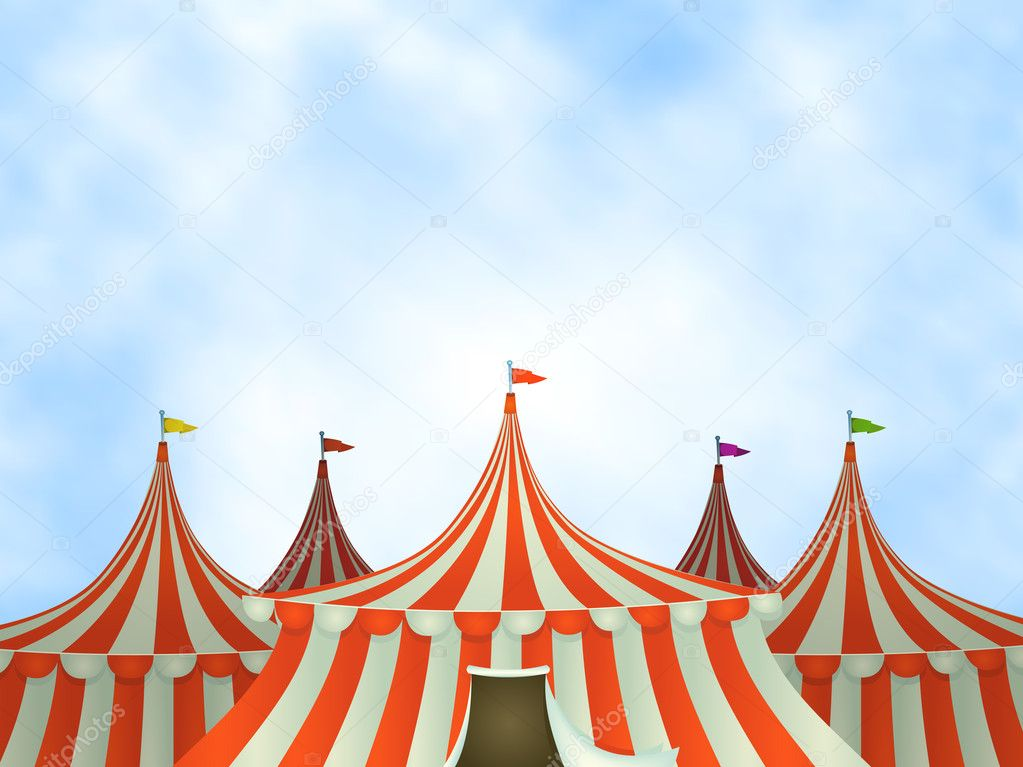 Illustration of cartoon circus tents on a blue sky background — Stock Vector #11150549