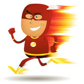 Comic Fast Running Superhero — Stock Vector