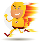 Comic Fast Running Superhero — Stockvektor
