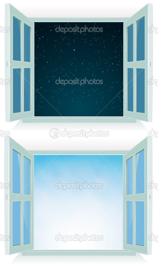 Illustration of a home open window with day and night sky background — Stock Vector #11353080