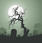 Halloween Spooky Dead Tree In Graveyard — Stock Vector