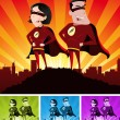 Super Heroes Male And Female — Imagen vectorial
