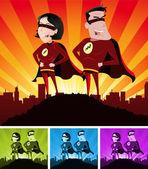 Super helden mannelijke en vrouwelijke — Stockvector