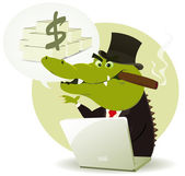 Crocodile Bankster Crook — Stock Vector