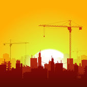 Sunrise Cranes And Construction Background — 图库矢量图片