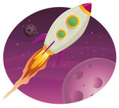Rocket ship Flying In Space — Stock Vector