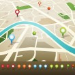 Royalty-Free Stock Vector: Street Map With GPS Pins Icons