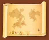 Treasure Map On Parchment Scroll — Stock Vector