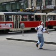 Running for tram — Stock Photo
