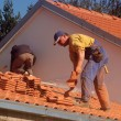 Roofers at work - Stok fotoğraf