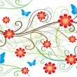 Red flowers and butterflyes decoration - Image vectorielle