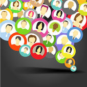 Abstract speech cloud of network avatars — Stock Vector