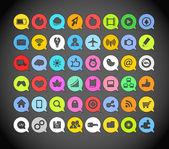 Kleur papier media iconen in wolken — Stockvector