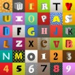 Set of vector letters in color squares — Stock Vector