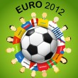 Euro 2012 national teams around the soccer ball — Stock Vector