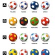 Color balls of national football teams of Euro 2012 — Stock Vector
