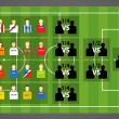 Euro 2012 tournament scheme on soccer (football) green field. Ve - Imagens vectoriais em stock