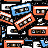 Vintage analogue music recordable cassettes. seamless background — Vecteur