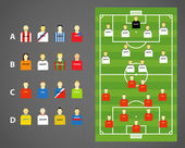 Game scheme with collection of football players. Vector template — Stock Vector