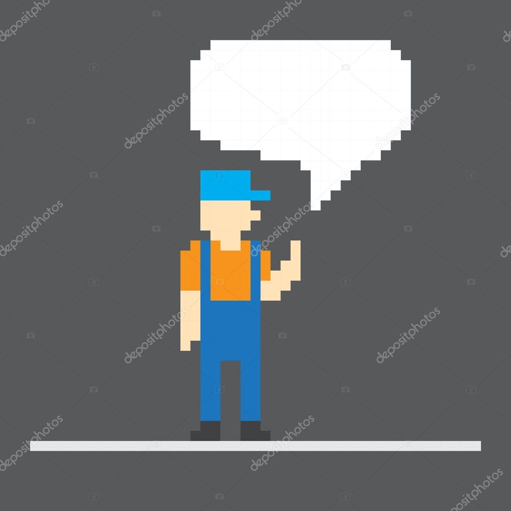 Pixel worker with speech cloud. Template foe a text — Stock Vector #11061259