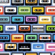 Stock Vector: Vintage analogue music recordable cassettes