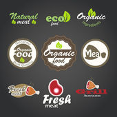 Eco and fresh food products stickers — Vector de stock