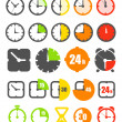 Different color timer icons collection isolated on white — Vecteur #11412912