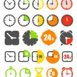 Different color timer icons collection isolated on white — Stockvektor