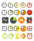 Kolekcja ikony zegara inny kolor na białym tle — Wektor stockowy