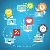 Global social network abstract scheme. — Stock Vector