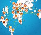 абстрактные схемы социальной сети на карте земли — Cтоковый вектор