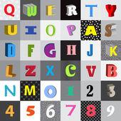 Verzameling van vector brieven in kleur pleinen — Stockvector