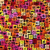 Modern color social media icons seamless texture — Cтоковый вектор