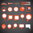 Different indicator icons and speech clouds collection — Grafika wektorowa