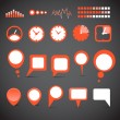 Different indicator icons and speech clouds collection — Stockvektor