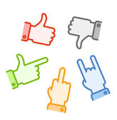 Silhouettes of different color hand gestures isolated on white b — Stock Vector