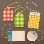 Checkered shopping tags with rope — Stock Vector