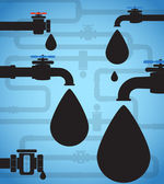 Oil drops and black pipeline — Stock Vector