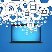 Iconos de los medios de comunicación de colores cayendo con el ordenador portátil — Vector de stock