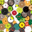 Seamless pattern of different clocks — Stock Vector