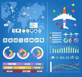 Vol infographie. trajectoires d'avions civils sur monde carte w — Vecteur
