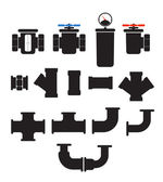 Water supply system elements vector collection. Isolated on whit — Stockvector