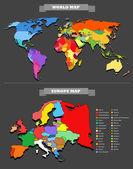 Plantilla de mapa del mundo. cada país es seleccionable — Vector de stock