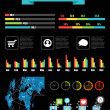 Color infographic elements on black — Stok Vektör