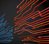 黒の矢印と地下鉄線の抽象的な背景 — ストックベクタ